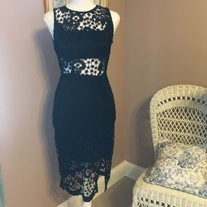 Black  lace occasion dress.